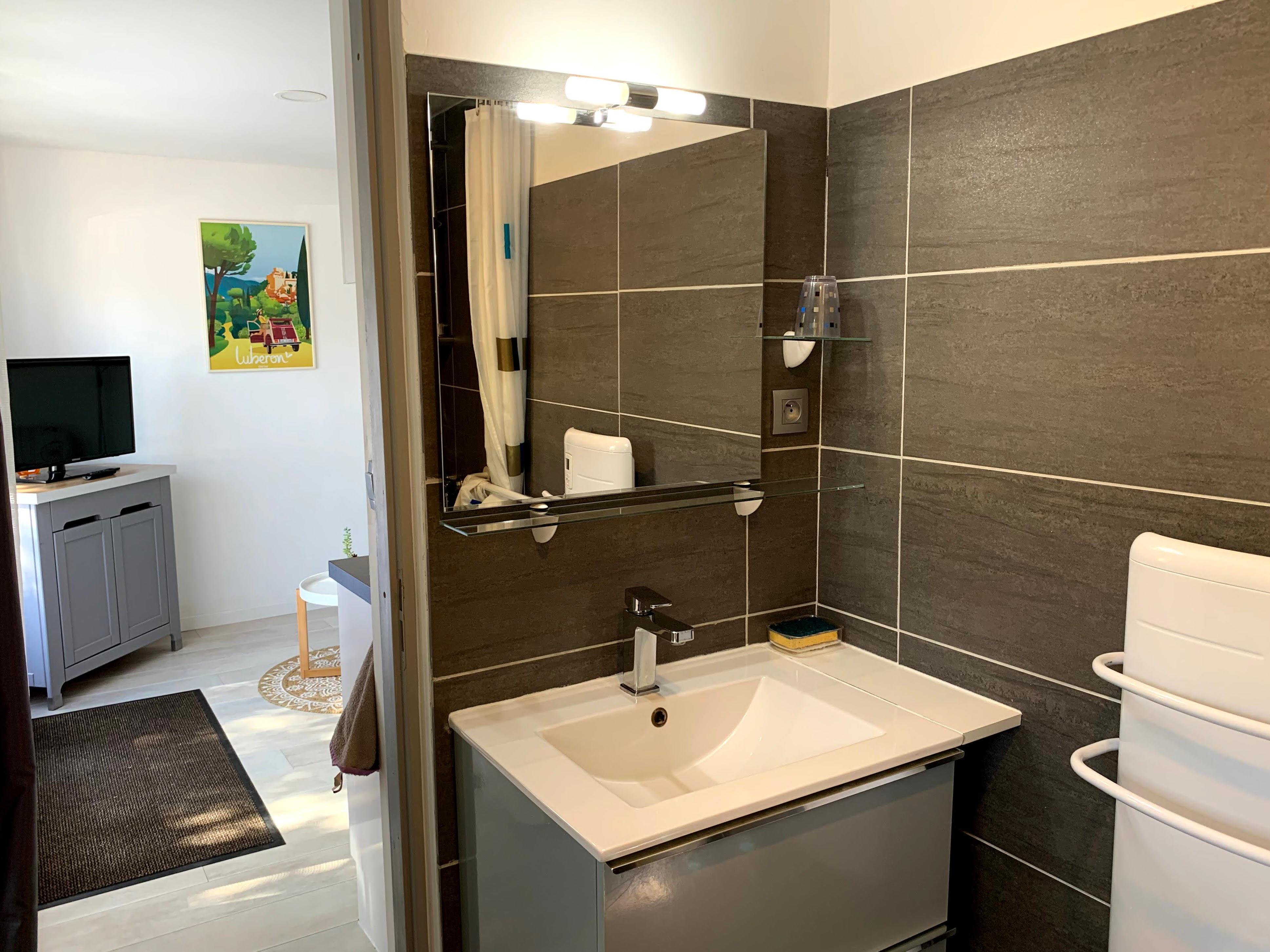 Gîte l'Ocabée : meuble de salle de bains